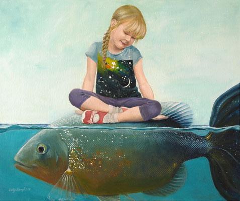 """""""Isabel auf dem Fisch"""" Acryl auf Leinwand (Keilrahmen) 50x60 cm"""