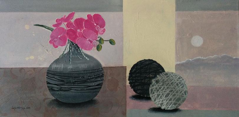 """""""Orchideen in der Vase"""" Acryl auf Leinwand (Keilrahmen) 40x80 cm"""