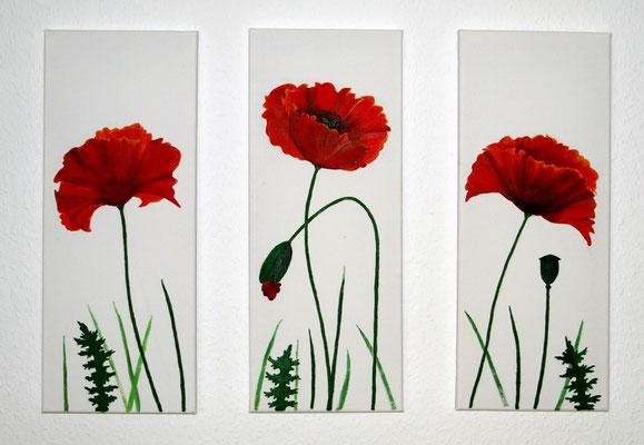 """""""Mohnblumen Trio"""" Acryl auf Leinwand (Keilrahmen) je 20x50 cm"""