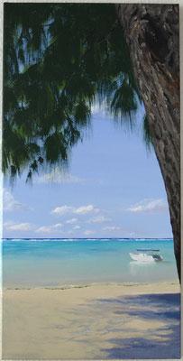 """Lagune auf Mauritius"" Acry auf Leinwand (Keilrahmen) 40x80 cm"