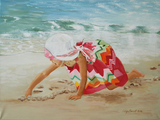 """Am Strand"" Acryl auf Leinwand (Keilrahmen) 60x80 cm"