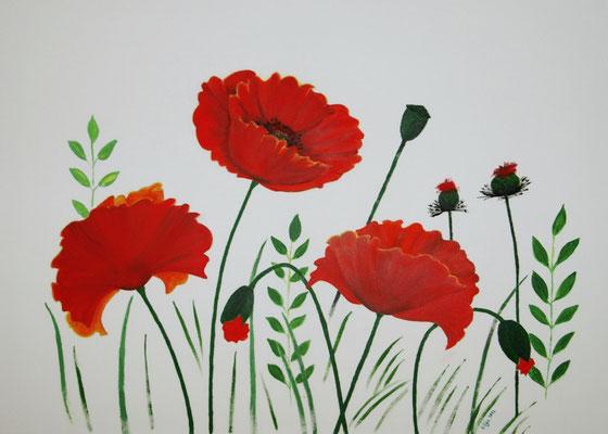 """""""Drei Mohnblumen"""" Acryl auf Leinwand (Keilrahmen) 50x70 cm"""