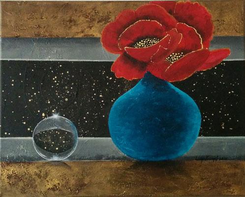 """Mohnblumen in der Vase"" Acryl auf Leinwand (Keilrahmen) 40x50 cm"