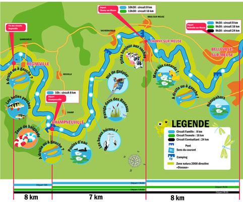 Plan de la descente de MEUSE CANOE
