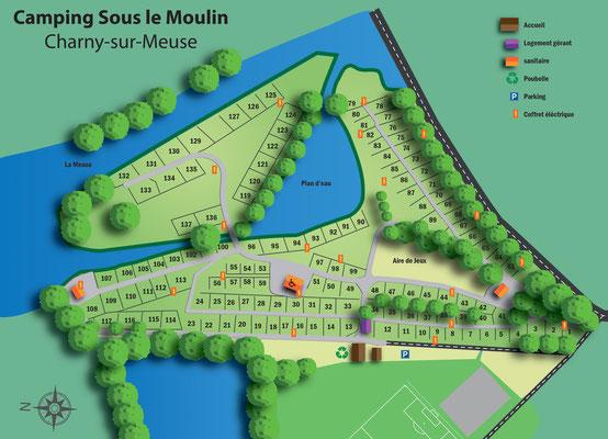 Plan du Camping Sous le Moulin à Charny-sur-Meuse