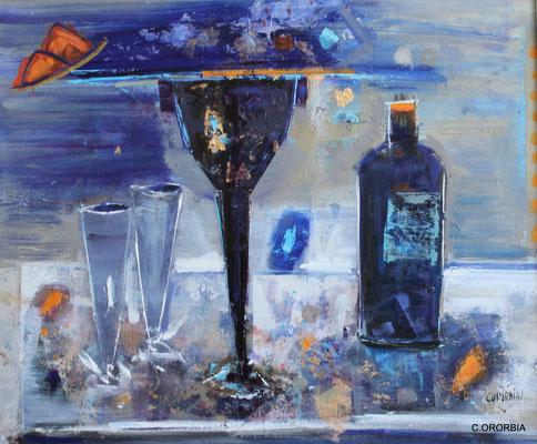 """""""Dos copas y un destino""""  (46 x 55 cm)"""