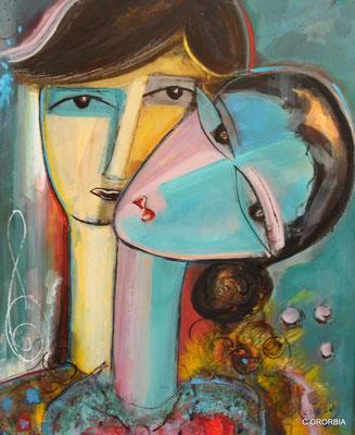 """""""Sintonía en turquesa""""  (65 x 54 cm)"""