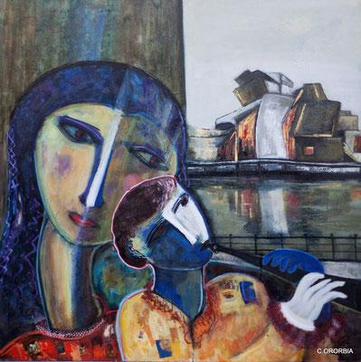 """""""Entre dos aguas""""  (100 x 100 cm)"""