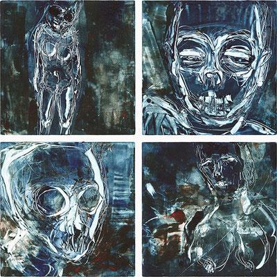 BLUE 1 / 2 / 3 / 4 | Monotypie/Papier | 20 x 20 cm | 2009