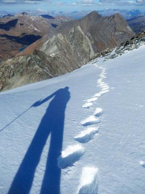 Abstieg am Gipfelplateau