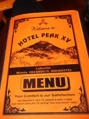 Zurück in Lobuche - Hotel Peak XV