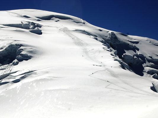 Aufstiegsroute - Dôme-Nordflanke