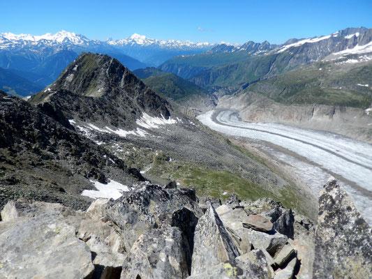 Gipfelblick - Unterer Teil des Aletschgletscher