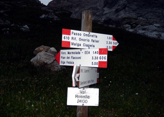 Weggabelung - Val Rosalia, 2400 M