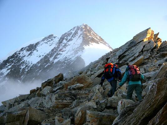 Blick zum Süd- und Gipfelgrat
