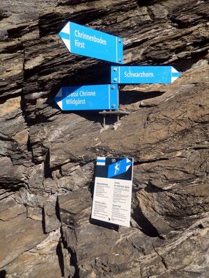 Trennpunkt Klettersteig links - Bergpfad rechts