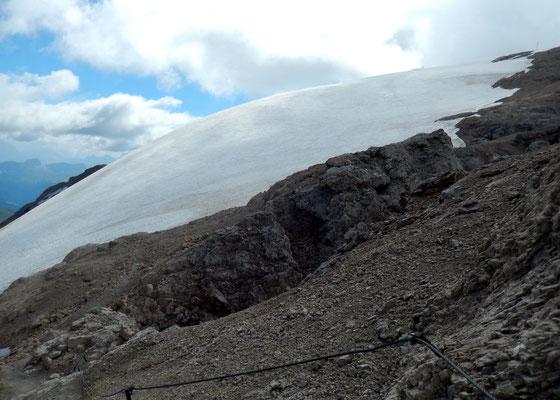 Am Westgrat - Beginn der vergletscherten Gipfelzone