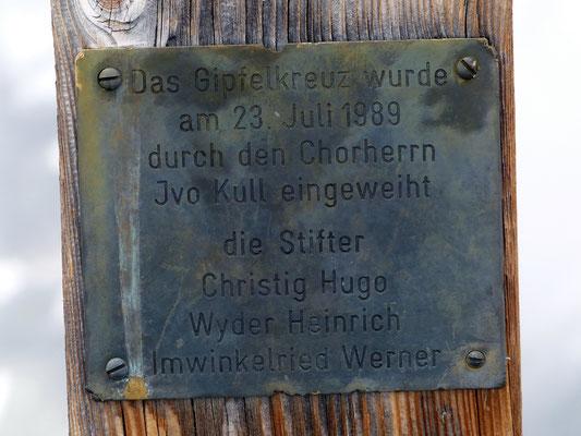 Gipfelkreuz-Inschrift