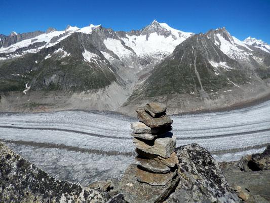 Gipfelblick - Mittlerer Teil des Aletschgletscher