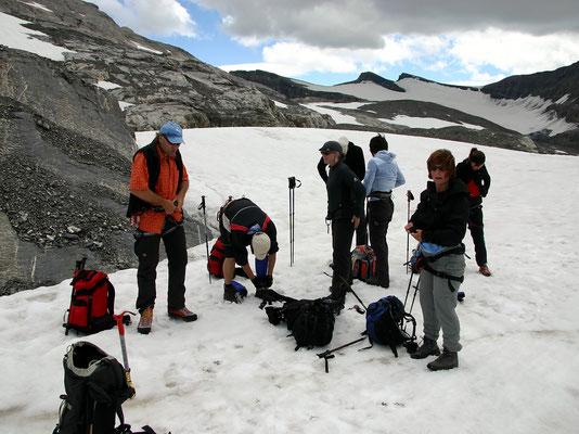 Vorbereitungen auf Gletschergang
