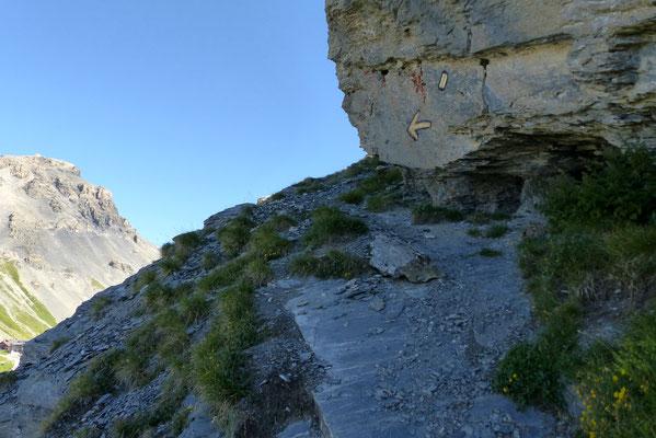 Am Fuß des felsigen Gipfelkopfs