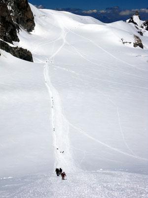 Zurück am Col du Midi