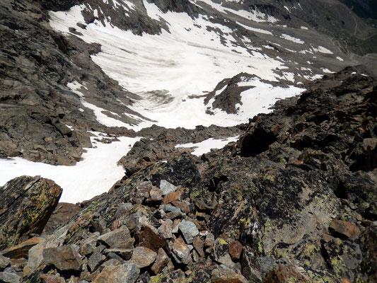 Tiefblick von der Blockterrasse auf den Laggin-Gletscher