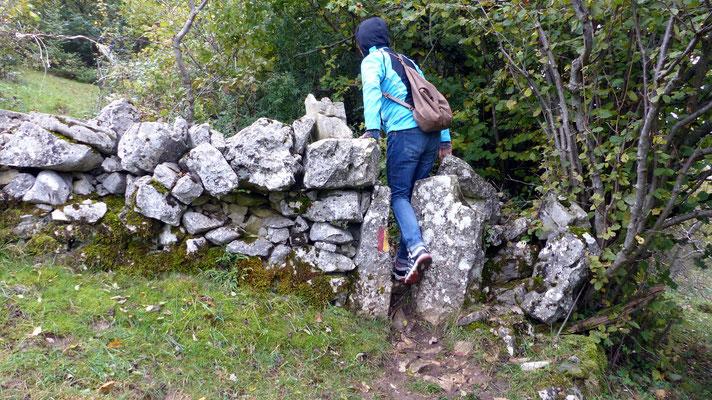 Steinmauer-Durchstieg