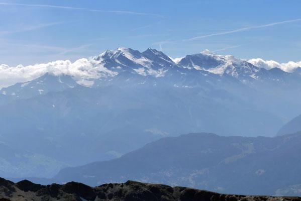 Gipfelblick: Fletschhorn, Lagginhorn, Weißmies