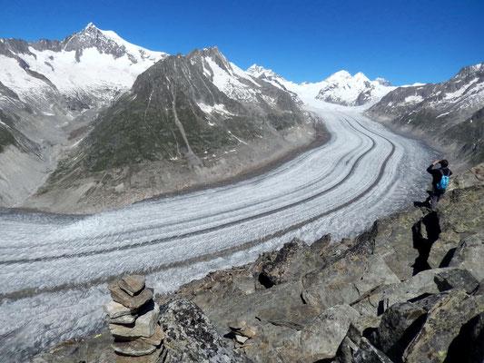 Gipfelblick - Oberer Teil des Aletschgletscher