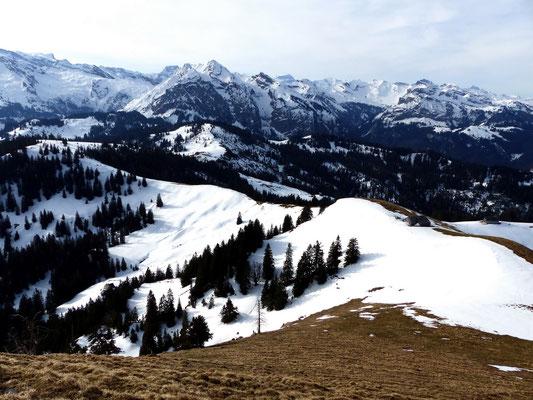 Blick vom Chli Aubrig-Gipfel auf Wildegg
