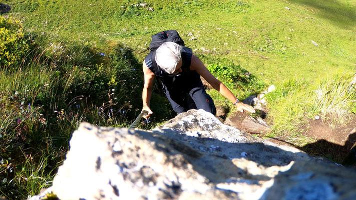 Kurze Kletterstelle