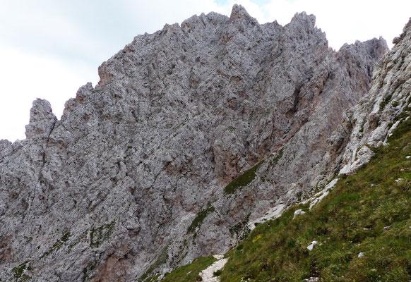 Blick zurück in die steile Südwestflanke