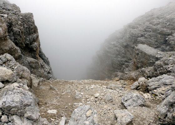 Wieder am Einstieg in die steile Schuttflanke