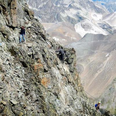 Kletterpassagen im Abstieg