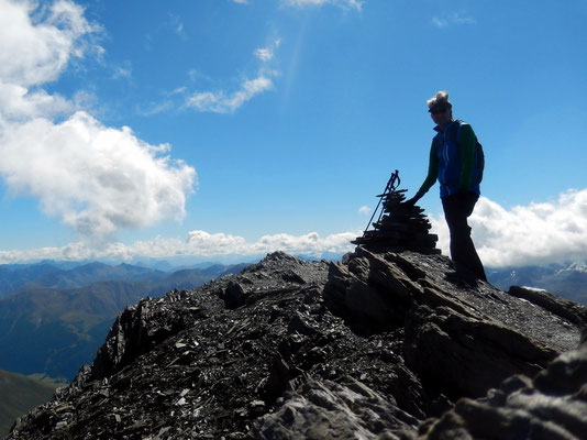 Am Gipfel des Piz Blaisun - 3200 m