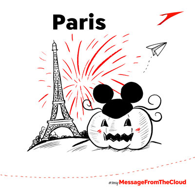 """Livedrawing für Austrain Airlines """"My Message from the Cloud"""", Halloween in Disneyland"""