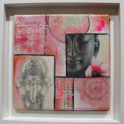 """Petite série """"Bouddhas"""". Acrylique, encre & techniques mixtes sur toile encadrée 20x20."""