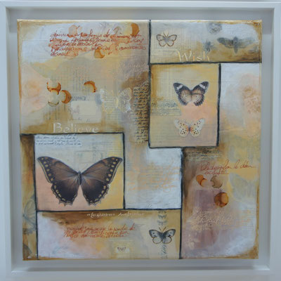 """Série """"Butterflies"""". Acrylique, encre & techniques mixtes sur toile 3D encadrée."""