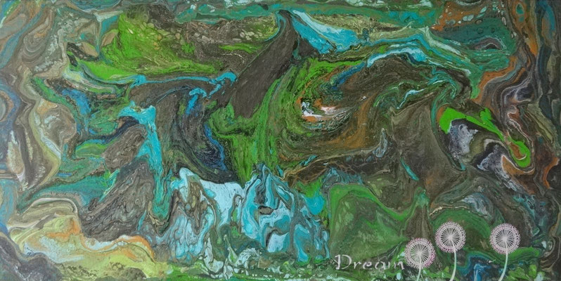 """Land of Dream"" (Pays des songes) pouring sur toile 3D 80x40."