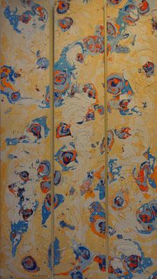 """""""Cellular"""" (Cellule). Peinture à la cuve sur un triptyque de 165x30."""