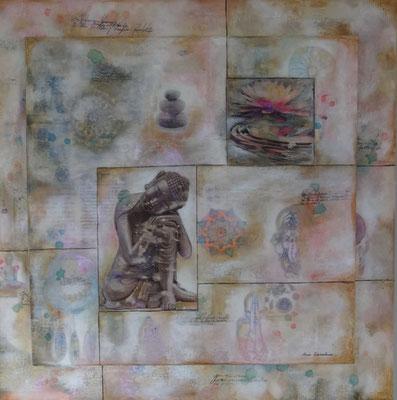 """""""Thalande"""". Acrylique, encre & techniques mixtes sur toiles 100x100/80x80."""