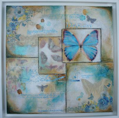 """Série """"Butterflies"""". Acrylique, encre & techniques mixtes sur toile 3D 40x40."""