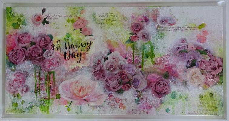 """Série """"Roses"""" acrylique & techniques mixtes sur toile 3D 40x80."""