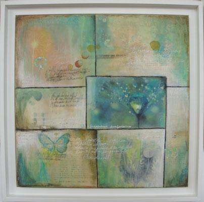 """Série """"Dandelions Flowers"""". Acrylique, encre & techniques mixtes sur toile encadrée 40x40."""
