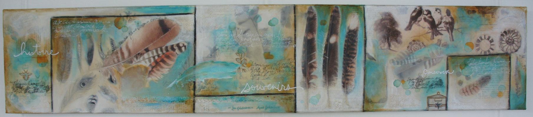 """""""Feathers"""" (Plumes). Acrylique, encre & techniques mixtes sur toile"""