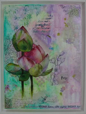"""e """"Lotus"""", acrylique & techniques mixtes sur toile 3D 30x40 encadrée."""
