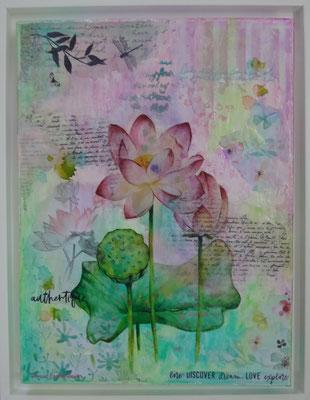 """Série """"Lotus"""", acrylique & techniques mixtes sur toile 3D 30x40 encadrée."""