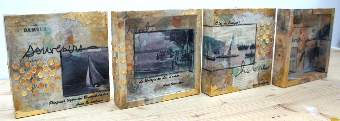 """Mini série encaustique """"Le lac du Bourget  d'antan..."""" Acrylique, encre, techniques mixtes & encaustique sur toile bois 3D 15x15."""