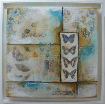 """Série """"Butterflies"""". Acrylique, encre & techniques mixtes sur toile 3 D encadrée."""